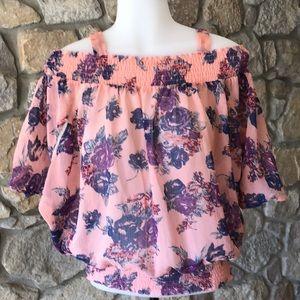Off the shoulder sheer floral blouse